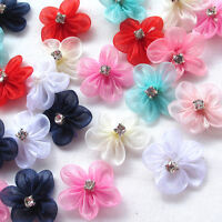 30pcs Organza Ribbon Flowers Bows W/Rhinestone Appliques Wedding Mix A495