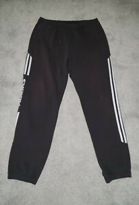 MENS ADIDAS SIZE L LARGE BLACK WHITE 3 STRIPE JOGGERS TRACKIE BOTTOMS
