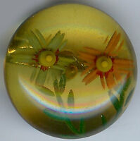 VINTAGE REVERSE CARVED PAINTED FLOWERS BAKELITE BUTTON
