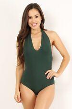 New Medium Hunter Green Cotton Halter Bodysuit