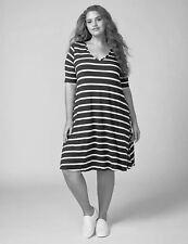 NEW LANE BRYANT PLUS SIZE BLACK & WHITE STRAPPY BACK T-SHIRT DRESS SZ 14/16
