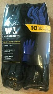 SIZE LARGE 10 Pair Wells Lamont Work Gloves Latex Coating On Polyester Liner