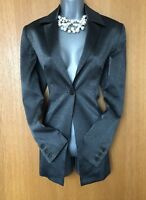 Exquisite Karen Millen Grey Metallic Tailored Classic Blazer Jacket 10 UK EU 38