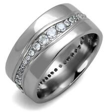 2667 MENS SIGNET PINKY WEDDING BAND RING SIMULATED DIAMONDS STAINLESS STEEL