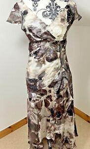 EPISODE Size 10 Silk Shift Dress White Brown Asymmetrical Floral Beaded