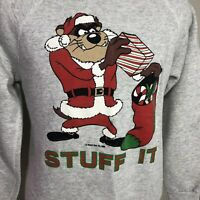 VTG 1988 Taz Sweatshirt Christmas Warner Bros Looney Tunes 80s 90s Cartoon Small