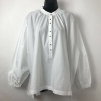 Free People Womens Blouse White Long Sleeve Mandarin Collar Buttons Cotton Top S