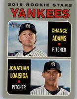 (10) 2019 Topps Heritage 10-CARD LOT Chance Adams/Jonathan Loaisiga Yankees #189