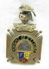 Antique Gold Filled Enamel FCB Knights of Pythias Pocket Watch Pendant Fob