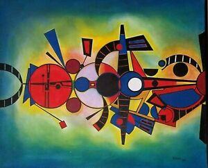 Angel Alfonso Orbital Mixed Media Canvas 33X40 Original Painting Cuban Art 2016