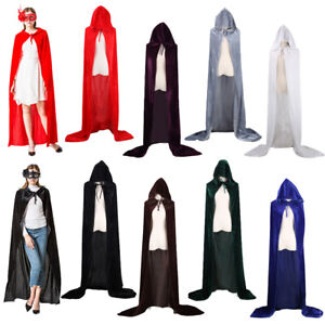 Adult Kids Unisex Gothic Hooded Velvet Cloak Cape Medieval Halloween Costume