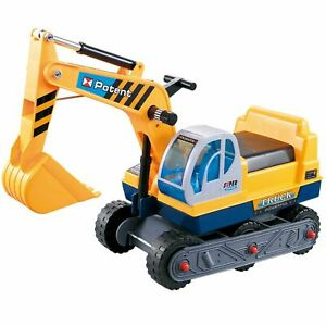 Rexco Childrens Kids Ride on Yellow Excavator Digger Push Along Toy Car Tractor
