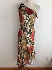 LAUNDRY by Shelli Segal One Shoulder Silk Dress Tan w/Red, Black & Tan Size 6