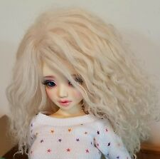 "BJD 1/4 MSD 16"" Doll Blonde Mohair Wig Only Minifee Unoa Ellowyne Size 7/8"