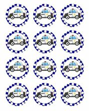 """24 POLICE CARS 2"""" CUPCAKE EDIBLE WAFER PAPER CAKE TOPPERS #1"""