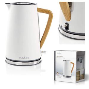 Nedis Wasserkocher Holzgriff 1,7l Soft-Touch Weiß Holz 2200W Wasser Kocher