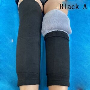 1 Pair Knee Pads Faux Fur Leg Warmer Winter Outdoor Thermal Protector Unisex Men
