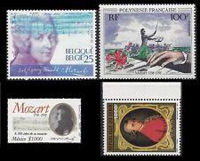 Wolfgang Amadeus Mozart. Lot of 4 MNH stamps. (BI#1)