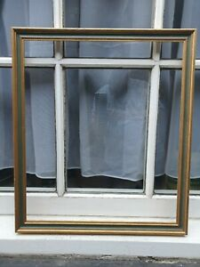 "VINTAGE GREEN PAINT & GOLD GILT FRONT PHOTO PICTURE FRAME 18 3/4"" W X 21 1/2"" D"