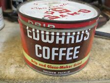 EDWARDS COFFEE CAN 1 LB POUND  ADVERTISING COUNTRY STORE ORIGINAL TIN VACUUM