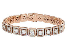 Mens Square Baguette Diamond Statement DESIGNER 10k Rose Gold Bracelet 8 1/2ct