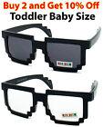 TODDLER BABY CHILDREN PIXEL 8 BIT RETRO SUNGLASSES CLEAR GLASSES NERD GEEK GAMER