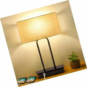 3-Way Dimmable Touch Control Table Lamp with 2 USB Ports and AC Power Outlet ...