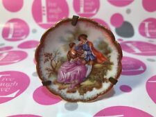 """LIMOGES MINIATURE PORCELAIN D'ART GOLD TRIM """"RARE PLATE"""" W/LOVERS & PLATE STAND"""
