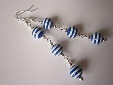 Long Drop / Dangle Earrings - Nautical / Sailor Stripe - Blue / White