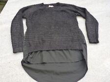 Schöner schwarzer Pullover im Lagenlook schwarz mit Pailetten Gr. S