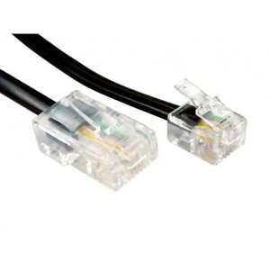 RJ11 ADSL to RJ45  Ethernet Modem Cable 8P 4C 6P 4C ASDL Patch 4 pin BLACK 2m