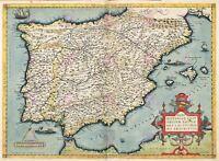 Map Antique Ortelius 1584 Iberia Spain Portugal Replica Canvas Art Print