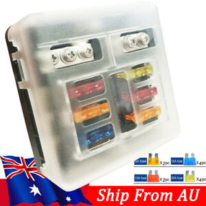 12V Fuse Box With 12X Fuses Fuse Holder Fuse Box 6 Way Fuse Block For Car Boat