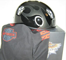 harley davidson half helmet s black silver pitchfork rally flames box bag bar