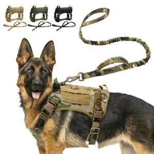Tactical Dog Harness&Leash w/ Handle Large Military Dog Vest Working Training