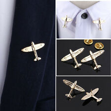 2x Men's Lapel Pins Brooch For Wedding Suits Gold Color Aircraft Plane Brooch
