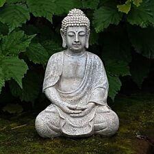 Budda Keramik Feng Shui Skulptur Garten Home Figur Meditation Buda Betend grau