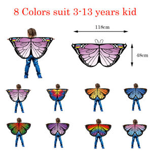 Baby Kid Girl Fairy Butterfly Wing Costume Princess Shawl Cape Halloween Cloak