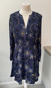 Whistles Ebony Galaxy Flippy Dress Moon Stars Sun Navy Size 14 Princess Eugenie