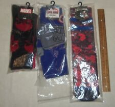 3 Pairs of Biowold Crew Socks- Captain America , Punisher & Harley Quinn