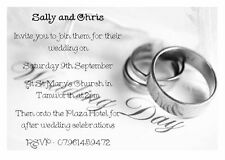 50 Personalised Wedding invitations - DAY & EVENING RECEPTION  INVITE - B&W