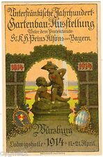 POSTCARD GERMAN 1914 WURZBURG HORTICULTURE EXPOSITION 100 ANNIVERSARY