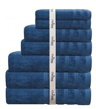 7 PCE 575GSM EGYPTIAN COTTON TOWEL SET 2x BATH / HAND /FACE TOWELS 1x MAT BLUE