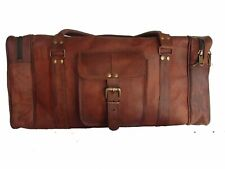 New Vintage Men Genuine Leather leathr duffle weekend bag lightweight luggage