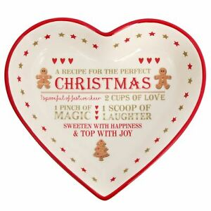 23 x 21cm Festive Gingerbread Christmas Ceramic Heart Snack Dish ~ Nibbles bowl
