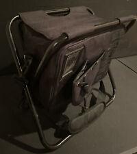 Basecamp Black folding stool Cooler with storage, Bottle Opener & Poncho