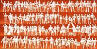 Bahnpersonal und Reisende 120 unbemalte Figuren Preiser 16325 Spur HO (16,5 mm)