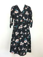 Red Herring Black Floral Floaty Girly Semi Wrap Tie Sleeve Tea Date Dress 14 UK