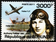 ANTHONY FOKKER & F27 Friendship Airliner / Fokker Spin Aircraft Stamp (2011)