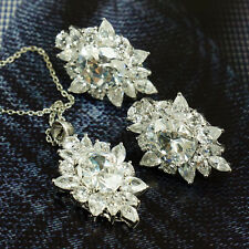 Cz Zirconia Necklace Stud Earrings Set Spakle Evening Cocktail Aaa High Quality
